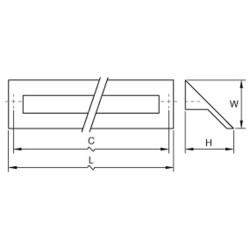 Poignée de meuble rectangulaire LAU, chromée
