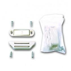 Loqueteau magnétique blanc force 4 kg avec vis lot de 8