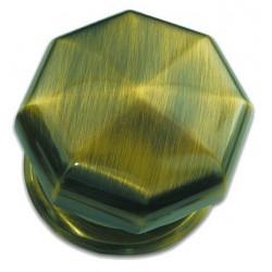 Boule de porte modèle diamant laiton bruni sur rosace D90