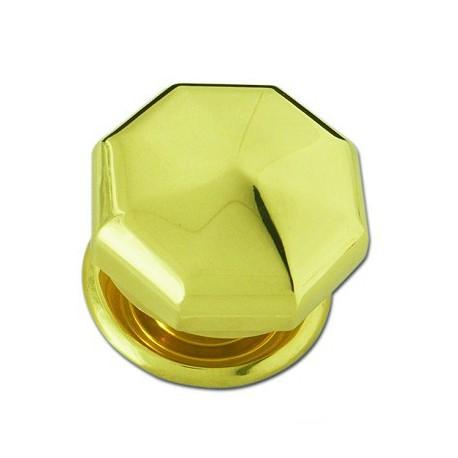 Boule de porte diamant en laiton poli sur rosace D90