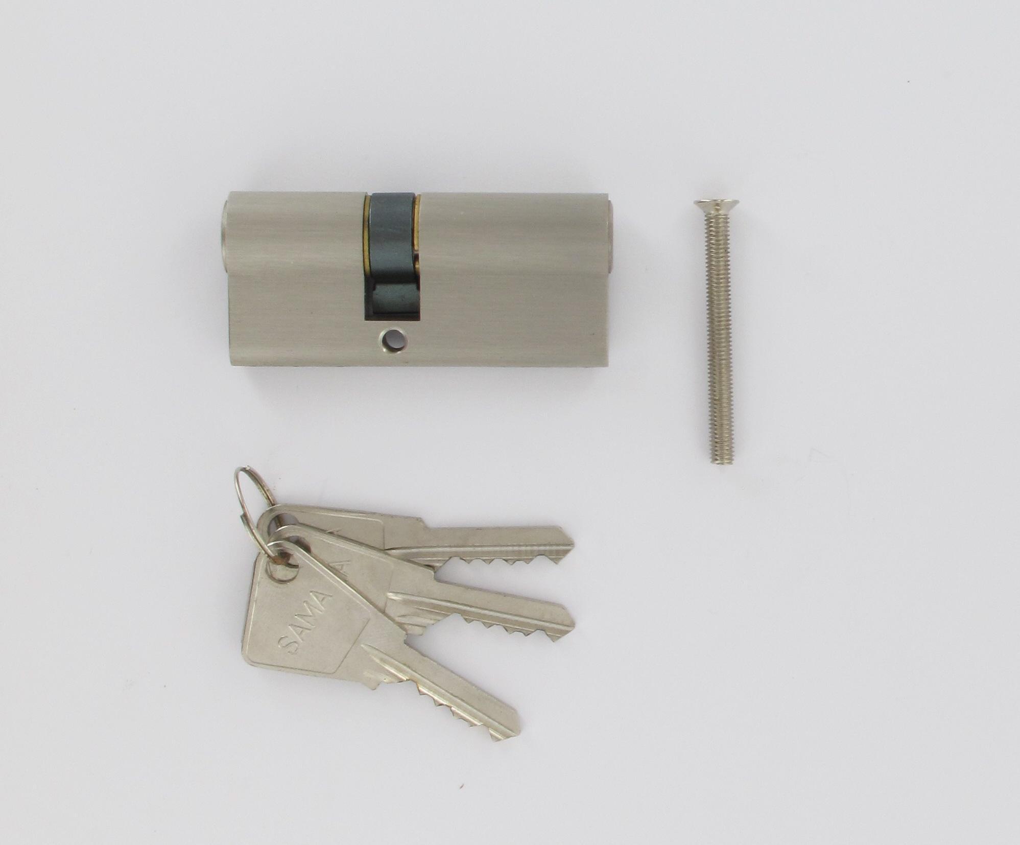 Cylindre de 70 mm zamac et chromé satiné 3 clés 30x40