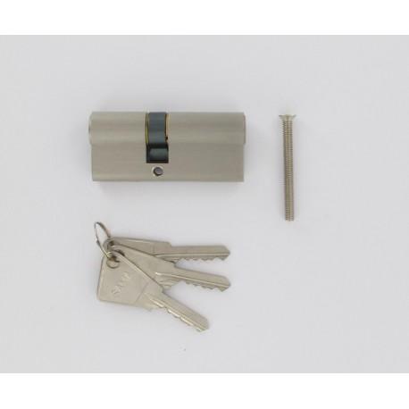 Cylindre de 80 mm (35x45) varié, en laiton nickelé, 3 clés laiton nickelé