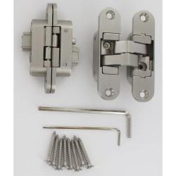Charnière invisible gauche en zamac satiné 3D 110X30/72 2 clée