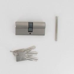 Cylindre de 80 mm (40x40) chromé satiné 3 clés laiton nickelé