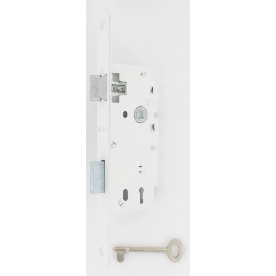 Serrure larder p dormant demi-tour trou clé L+1 clé axe à 40/12mm laqué blanc D