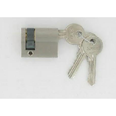 Demi-cylindre de 60 mm varié satiné 3 clés laiton nickelé