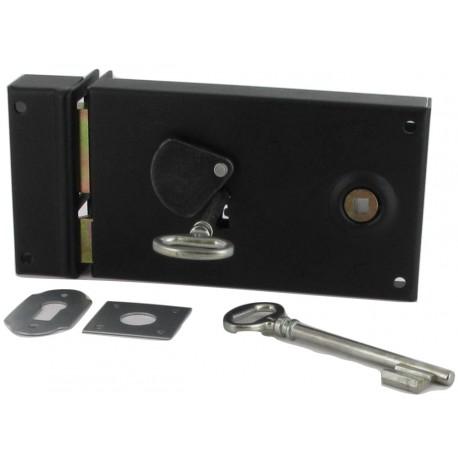 Serrure horizontale+gâche fouillot 6mm 2 clées façon gorge 6 variures noire D