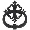 Heurtoir rustisque noir sur rosace carré ajourée 160X130 mm