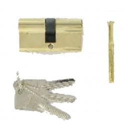 Cylindre de 60 mm 30X30 s'entrouvrant laiton poli 3 clés laiton nickelé