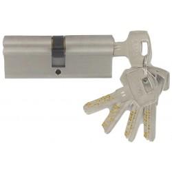 Cylindre Haute-Sécurité de 80 mm (40x40) varié, en laiton chromé satiné, 5 clés