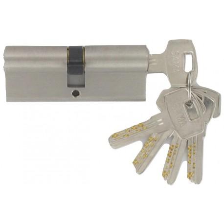 Cylindre Haute-Sécurité de 80 mm (30x40) varié, en laiton chromé satiné, 5 clés