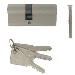 Cylindre de 95 mm (40x55) varié en laiton chromé satiné 3 clés laiton nickelé