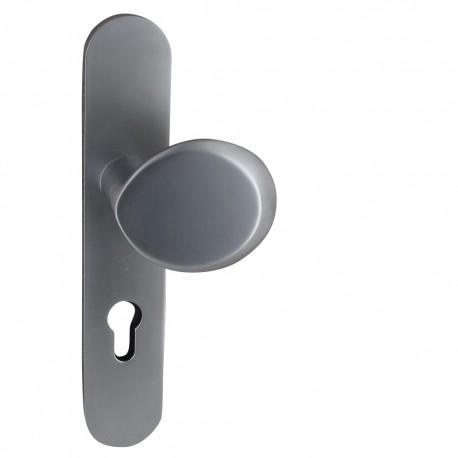 Poignées AMAND/ALIENOR S/plaque 225X42 mm trou cylindre I palière argent velour