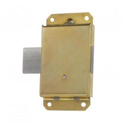 Verrou à pattes axe 15mm droite/gauche avec clé cuisse, acier laitonnée lot de 2