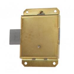 Verrou à pattes axe 24 mm droite/gauche avec clé acier laitonné lot de 2