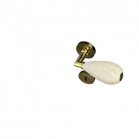 Poignées et rosaces trou de cylindre Goccia blanc et or