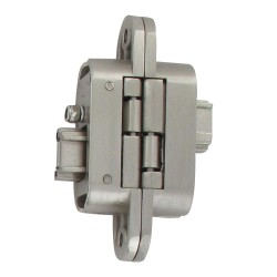 Charnière invisible gauche zamac satiné réglable 3 dimensions 95X23/60 2 clés