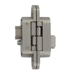 Charnière invisible droite zamac satiné réglable 3 dimensions 95X23/60 2 clée
