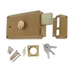 Sûreté horiz beige fouil 8mm 3 tours double cylindre laiton ronds D23mm+gâches D