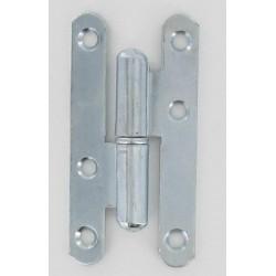 Paumelle norme CE bouts ronds acier zingué blanc 95X45X2 mm Gauche lot de 6
