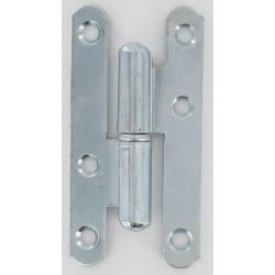 Paumelle norme CE bouts ronds acier zingué blanc 95X45X2 mm Droite lot de 6