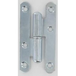 Paumelle 1ère qualité bouts ronds acier zingué blanc 95X45X2mm Gauche lot de 10