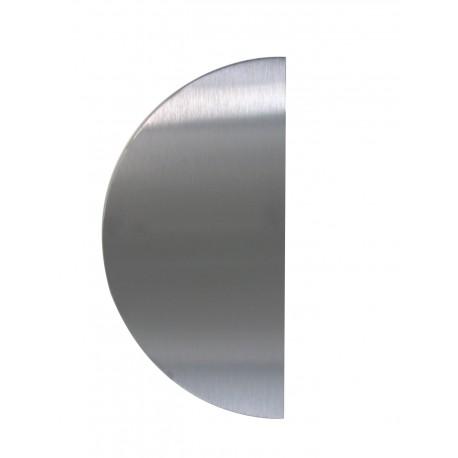 Plaque demie-lune en inox poli adhésive percée à la pointe avec chants adoucis.