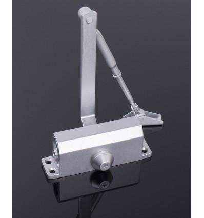 Ferme-porte à bras compas réversible en acier gris force 2