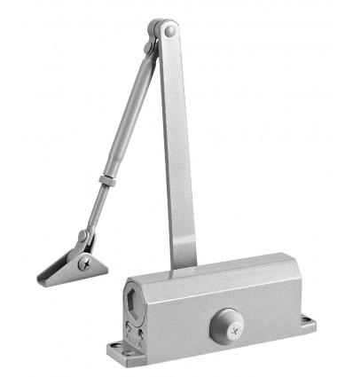 Ferme-porte à bras compas réversible en acier gris force 3