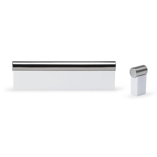 Poignée meuble rectangulaire/pyramide horizontal 192/312 mm nickelée brossé