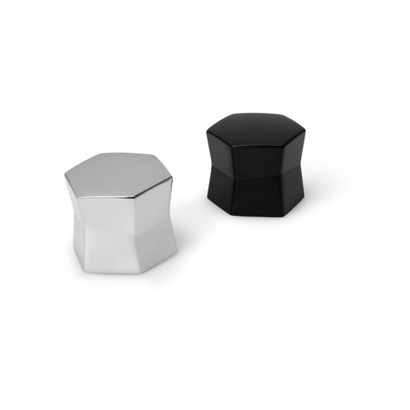 Bouton de meuble hexagone hauteur 25 mm noir