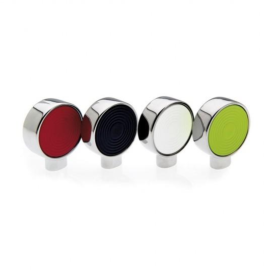 Bouton de meuble circulaire bague chromé/intérieur blanc 25 mm