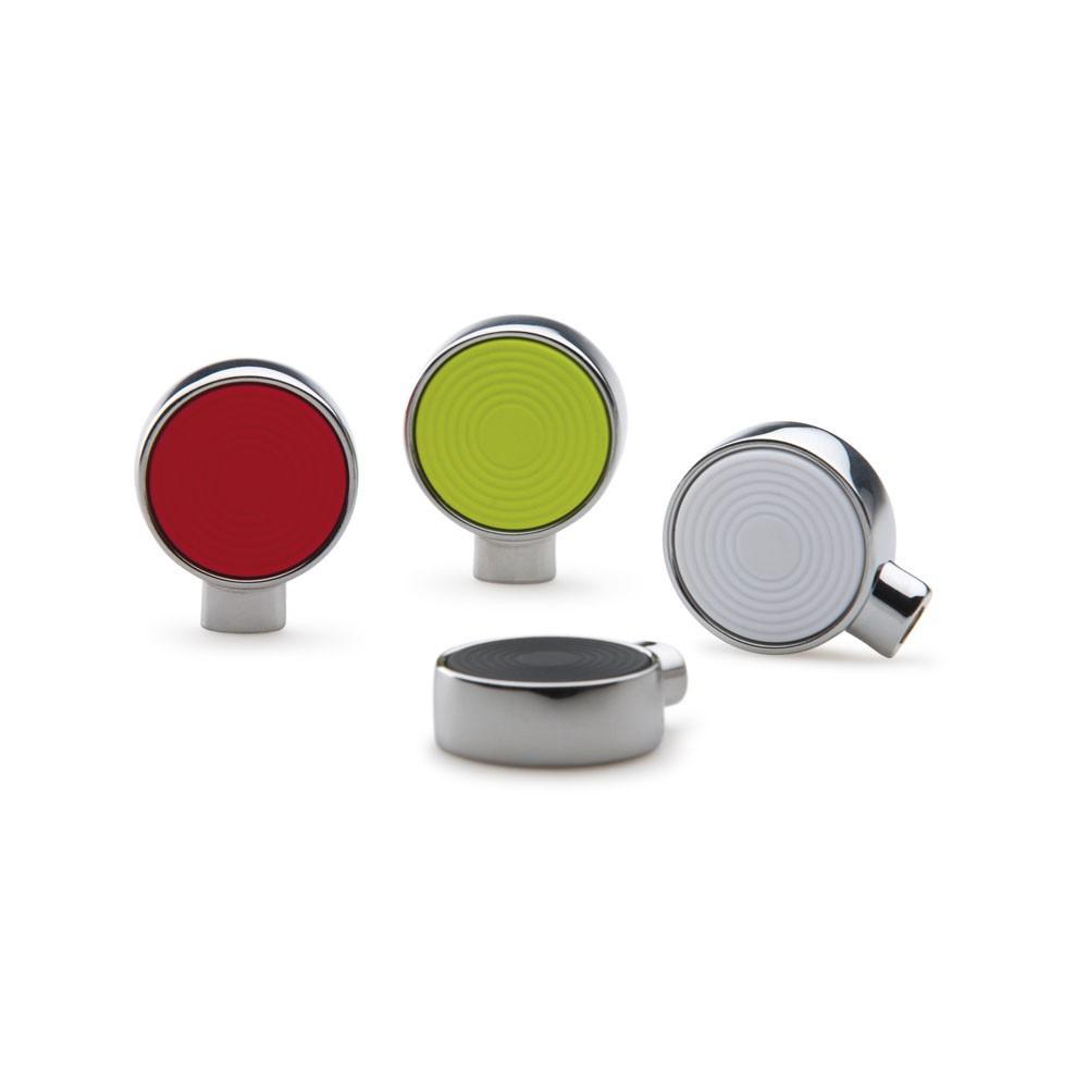 Bouton de meuble circulaire bague chrom int rieur blanc 25 mm for Bouton poussoir meuble