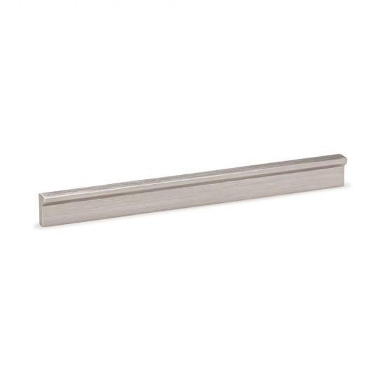 Poignée meuble avec découpes d'angle aluminium aspect inox 200 mm entraxe 128 mm