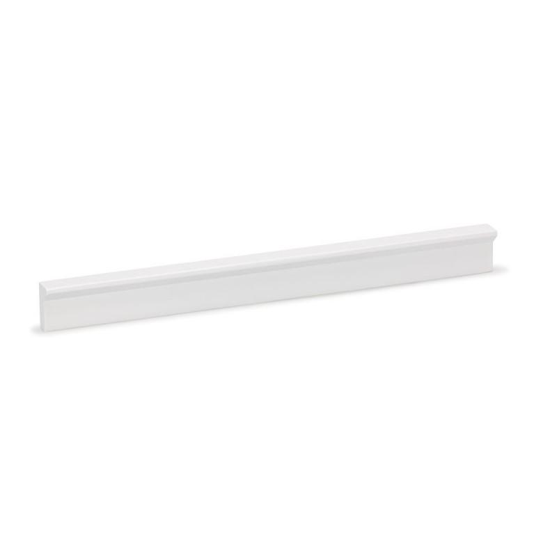 Poignée meuble avec découpes d'angle, blanc mat 128/200