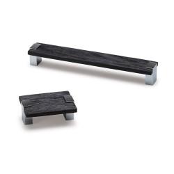 Poignée meuble rectangulaire BAD, lame palissandre 200 mm entraxe 192 mm noir